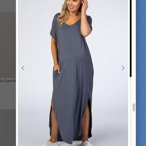 PinkBlush Charcoal Grey  Maternity Shirt Dress XL